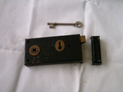 Vintage Reclaimed Union Rim Lock Door Latch & keep & Key