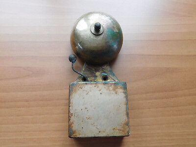 "Vintage School Fire Warning Bell Cast/brass 7"" High Electric Recess Schools Out"
