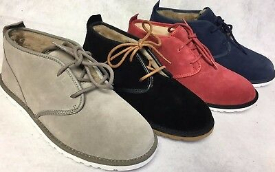 f2e8bdf8d24 UGG AUSTRALIA MAKSIM Men's Chukka Ankle Boot Suede Shearling Lace Up 1016680