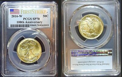 "PCGS Certified SP70 2016 First Strike Centennial Gold Walking Liberty ""Half"" $"