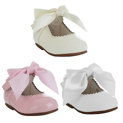 Baby Toddler Girls Spanish Bow Shoes Patent White Pink Party Wedding Flower Girl