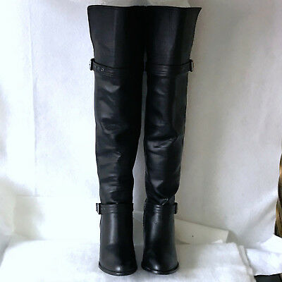 New 8.5M Black Leather Over The Knee Pull On Heel Military Buckle Riding Boot