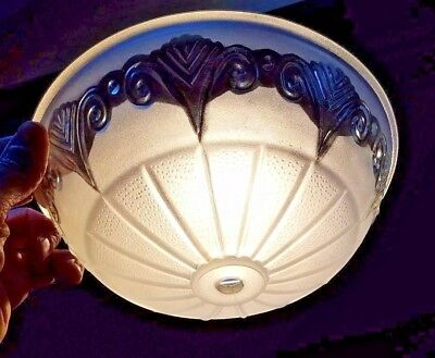 """Vintage 8.5"""" ROUND FROSTED CEILING LIGHT FIXTURE SHADE Thick Glass"""