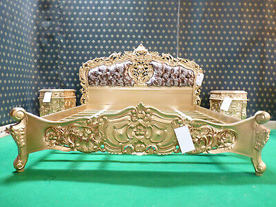 UK Super King Sophisticated Gold leopard Mahogany french furniture Rococo bed