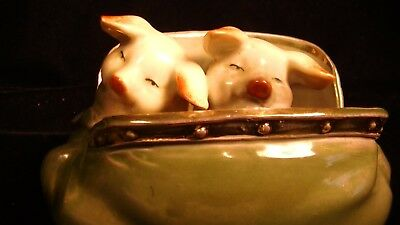Pink Pigs in Porcelain Purse,Antique German Fairing Porcelain Figurine