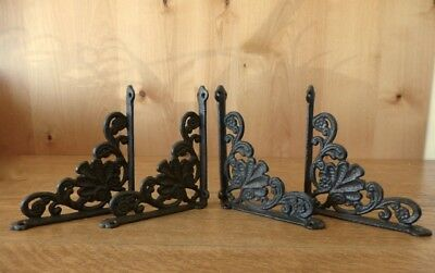 "4 Medium Brown 6.5"" Shelf Brackets Antique-Style Rustic Cast Iron-Shell Design"