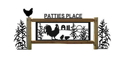 Chickens & Rooster Farm & Country Outdoor Sign-Cornstalks