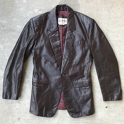 Vintage Early 80's Chess King Burgundy Leather Sports Coat Jacket Men's 38
