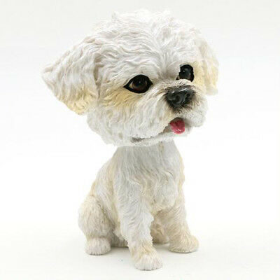 White Nodding Bichon Frise Dog Ornament Figurine Home Car Dashboard Decor Gift