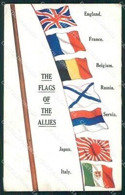 Propaganda Alleati Allies WW1 WWI Bandiere Flags cartolina XF8286