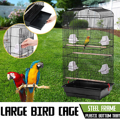 Pet Bird Cage Parrot Aviary Canary Budgie Finch Perch Black Portable Perches
