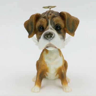 Resin BobbleHead Angel Boxer With Wing Dog Ornament Figurine Home Car Decor Gift