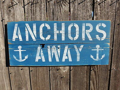 "10+ X 24 Inch Wood ""anchors Away"" Sign Nautical Seafood (#s842)"
