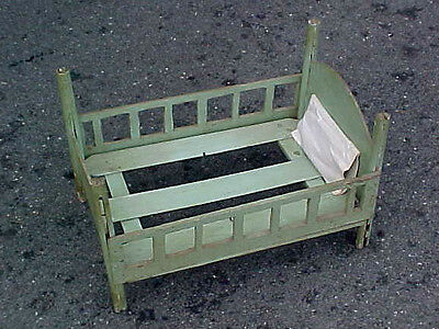 Great Early Primitive Antique Wooden BABY DOLL BED Old Green Paint Over Blue
