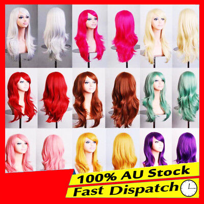70cm Long Girl Womens Wavy Curly Hair Synthetic Cosplay Full Wig Wigs Party Cap