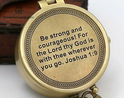 Brass Compass Joshua 1:9 Quote Engraved with Stamped Leather Case for Baptism