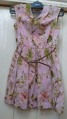 BNWT NEXT girls lined pink floral belted dress age 6 years, 116cm