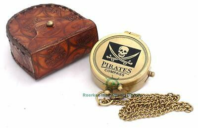 Solid Brass Pirate Compass with Stamped Leather Case
