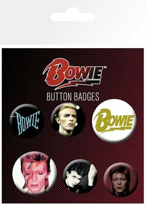 DAVID BOWIE Mix BUTTON BADGES (6) NEW CARDED BAGGED Official