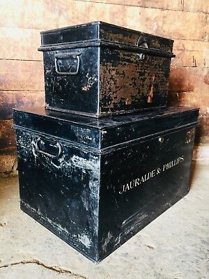 Pair of Ebonised Antique Industrial Metal Solicitors Deed Financial Tax Boxes