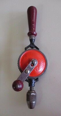 Vintage Hand-Cranked Cog Wheel Egg Beater Style Drill - Steel and Wood - 1960s