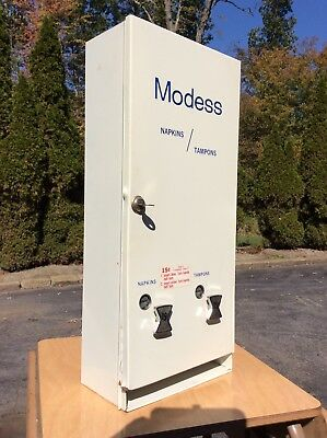 Vtg Modess Dual Lever 15 Cent Tampon Metal Vending Machine W/ Key - Very Good