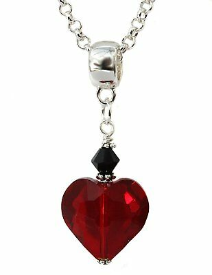 Gothic Victorian Style Dark Red Crystal Heart Pendant on Silver Chain Necklace