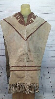 6*Vintage etched scenery Suede Leather Poncho w/Fringe Western/Mexico Men's L/XL