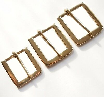 "Solid Brass Square Single Belt Buckle  1"" - 1-1/4""  -1-1/2"""