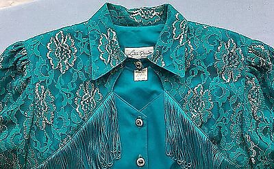Women's LILIA SMITTY Exclusive Teal & Silver Western Dress ~ Size 13/14