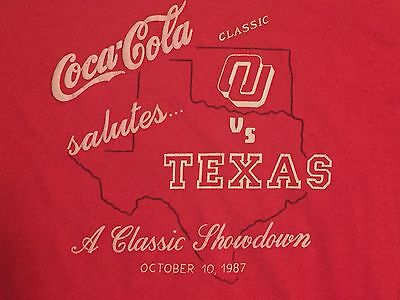 True Vintage RARE 1987 OKLAHOMA SOONERS Texas Longhorns T-shirt XL Coca Cola
