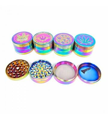 Rainbow 50mm Grinder 4 Part Hand Crank Herb Crusher Pollinator Magnetic Shark