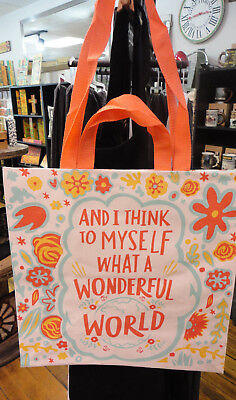 "Market Tote "" What A Wonderful World "" 2 Sided -Primitives By Kathy"