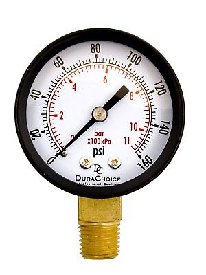 "2"" Pool Spa Filter Utility Pressure Gauge for Water, Oil, Gas, 1/4"" NPT Lower"