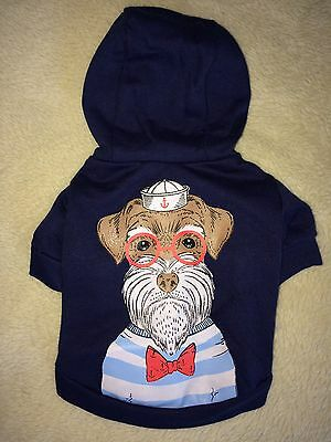 Tiny Mini Dog Jumper Hoody Navy Blue Chihuahua Puppy XS XXS 28cm