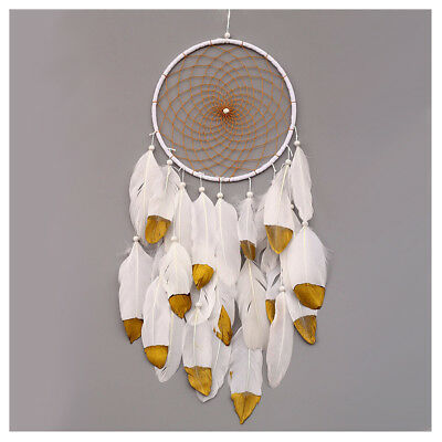 Handmade Dream Catcher with Feathers Wall Hanging Ornament Craft Gift, Whit P9E1