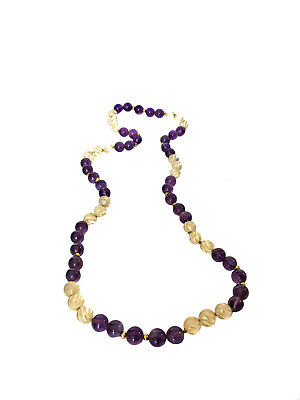 CHINESE DECO AMETHYST & ROCK CRYSTAL Gold Beaded Carved Necklace Quartz