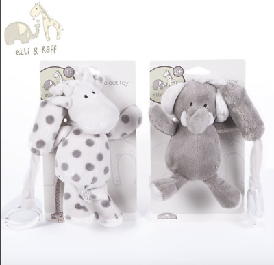 Elli & Raff Chime Cot Toys ~ BOTH ~ Supersoft, Gentle Chime Noise ~ Baby Nursery