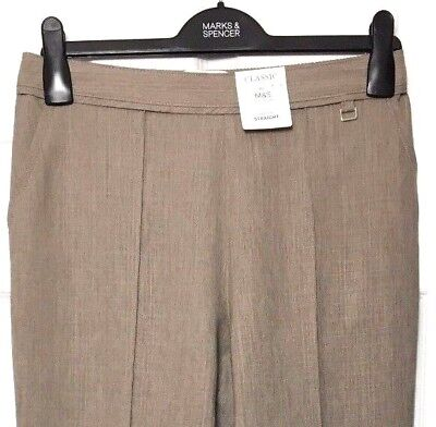 M&S Marks s10 Long Ladies Classic Mink Brown Pull On Straight Leg Trousers BNWT