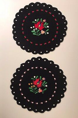 Vintage Round Kalocsa Floral Embroidered Black Felt Doilies Handmade in Hungary