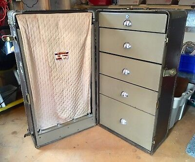 VINTAGE/ANTIQUE WHEARY TRAVEL TRUNK aka Wardrobe Steamer Trunk~Estate Find