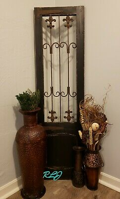 Shabby Antique Black Vintage Scroll Wood Metal Garden Gate Door Wall Panel Art