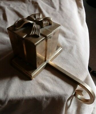 Vintage Solid Brass Stocking Holder Hanger Holiday Christmas Box Present Bow