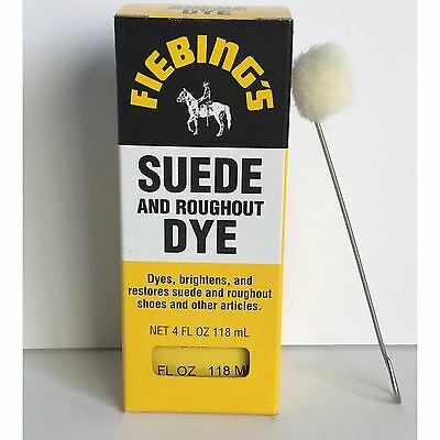 FIEBINGS BLACK Suede Dye 4 oz. with Applicator for Shoes Boots Bags NEW
