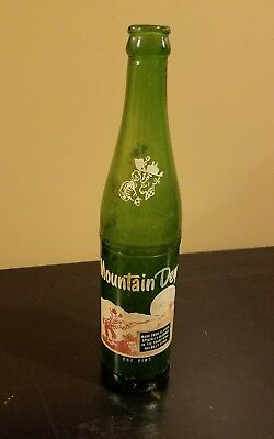 RARE 1 One Pint MOUNTAIN DEW BOTTLE vintage Green HILLBILLY make me an offer!
