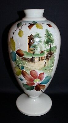 Antique Victorian Era Very Large Mantle Vase Milk Glass Handpainted Theme
