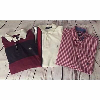 Lot of 3 Large polo Shirts- Nautica, Chaps, Vintage Streetwear