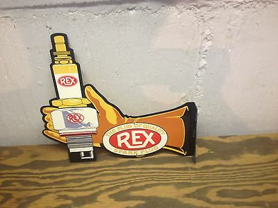 Vintage 30's Style Die Cut Rex Spark Plug Gas Station Display Sign 32 Ford