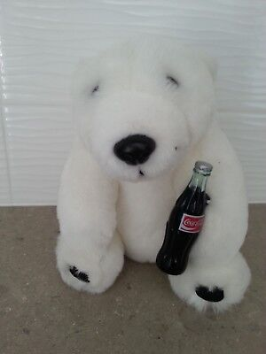 "Coca-Cola 7"" Plush Polar Bear with Coke Bottle - 1993"