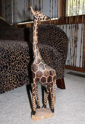 "SOLID WOOD HAND-CARVED GIRAFFE HAND MADE IN KENYA AFRICA 24.5"" Tall Impressive!"